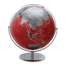 "Columbus Red World Globe - 17"" Diameter, Raised Relief, Striking Red and Silver"