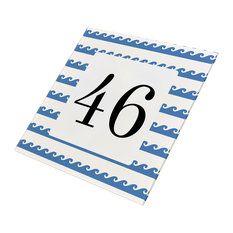 Abodian Signs Nautical Simple Waves House Number Sign Numbers