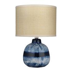 Small Batik Table Lamp, Indigo Ceramic With Small Drum Shade, Raffia