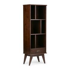 "Draper Solid Wood 64""x22"" Mid Century Bookcase & Storage, Medium Auburn Brown"