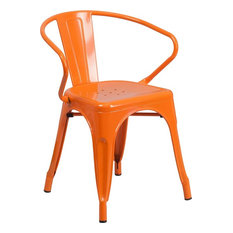 Brimmes Stackable Chair Orange Metal With Vertical Slat Back & Arms