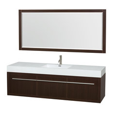 "72"" Single Vanity, Espresso, Acrylic Resin Top, Integrated Sink, 70"" Mirror"