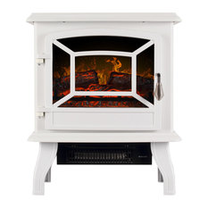 """17"""" Portable Electric Stove Fireplace, White"""