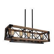 Rustic 5-Light Rectangle Metal/Wood Linear Chandelier