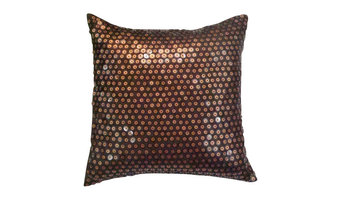 """Dotted Brown Satin Throw Pillow Cover, Circle On Circle, 26""""x26"""""""
