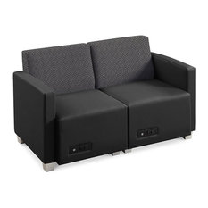 Forward Furniture Compass Loveseat With Power Iron Back/Black Poly Seat