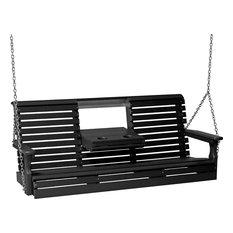 5' Poly Rollback Porch Swing, Black