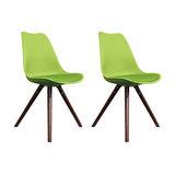 Scandi Style Dining Chair, Pyramid Walnut Legs, Apple Green, Set of 2