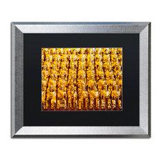 "Philippe Hugonnard 'Golden Buddhas' Art, Silver Frame, Black Matte, 20""x16"""