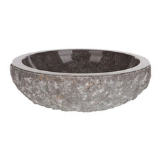 Vasque Import   Extra Large Round Marble Vessel Sink, 46 Cm, Grey, Extra Part 85