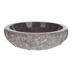 Round Marble Vessel Sink, Grey, 46 cm