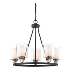 Minka Lavery Studio 5 Chandelier, Painted Bronze With Natural Brush