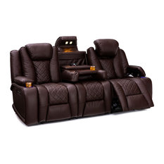 Seatcraft - Seatcraft Europa Home Theater Seating PU Sofa Power With Drop-Down Table, Black, - Theater Seating