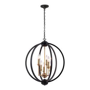 Kara 6-Light Chandelier, Black With Vintage Bronze Cluster