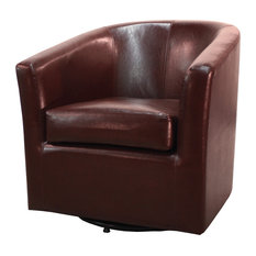 new pacific direct inc hayden swivel bonded leather chair saddle brown armchairs