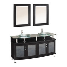 "Fresca Contento 60"" Espresso Double Sink Bathroom Vanity With Mirrors"