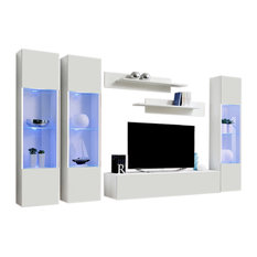 Wall Mounted Floating Modern Entertainment Center Fly C, White, D3