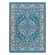 Celestina Traditional Oriental Blue Rectangle Area Rug, 8' x 10'