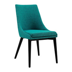 Viscount Upholstered Fabric Dining Side Chair, Teal
