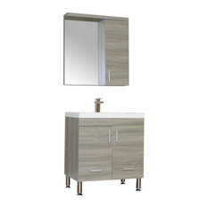 The Modern 30 inch Single Modern Bathroom Vanity in Gray without Mirror