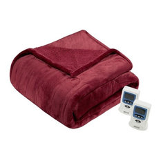 Solid Microlight Heated Blanket, Red, King
