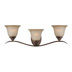 Mckinney 3-Light Vanity, Burleson Bronze With-Light Tea-Stained Glass