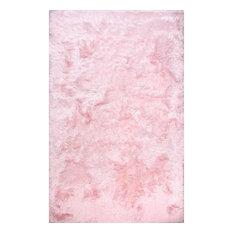 nuLOOM Hand Tufted Latonia Silken Shag Striped Area Rug, Baby Pink 9'x12'
