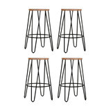 Hairpin Metal Kitchen Stool, Natural Wood, Black Steel, Small, Set of 4