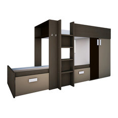 Bo3 Bunk Twin Over Twin Bed, 2 Mattresses Included, Mokka