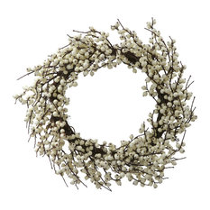 """Vickerman Company - 28"""" Indoor and Outdoor Berry Wreath, White - Wreaths and Garlands"""