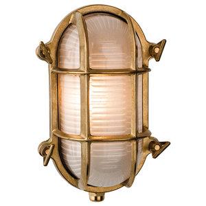 Classic Nautic Flush Wall Light, Brass