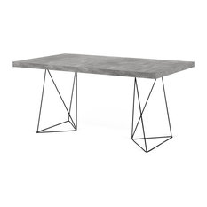 TemaHome Multi 160 Trestle Dinning Table, Concrete Look/Black Steel Legs