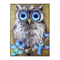 """Athene Noctua"" Hand Painted Canvas Wall Art"