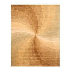 EORC Hand-tufted Wool Gold Contemporary Abstract Swirl Rug, Rectangular 5'x8'