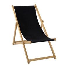 Foldable Deck Chair, Black