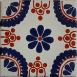 Fine Crafts & Imports - 6x6 4 pcs Blue Madrid Talavera Mexican Tile - This Talavera tile is hand-painted mostly in a Mexican white background. It has an 8-petal cobalt flower in the central part with four cobalt/terracotta quarter-circles in its corners. When a set of four is put together a cobalt circle is created at the center of the four tiles, as shown in one of the pictures. This tile can be used as a complimentary background tile in any wall or horizontal surface. The tile is hand-painted, this means that no two tiles are exactly alike! There might be small differences in size, weight and even the painting. If you want to enhance that little spot in your wall, pool or any indoors/outdoors space, this is what you are looking for! In the additional picture this tile is shown as an accent inside the Mexican White Talavera Clay Tile.