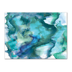"""DDCG - Watercolor Waves Canvas Wall Art, 40""""x30"""", Unframed - Prints and Posters"""