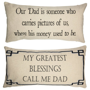 Father Dad Mens Gifts Dad Quotes Double Sided Tan Pillow