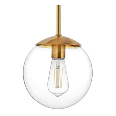 "MOTINI Globe Pendant Light with 8"" Glass for Kichen Island, Gold Brushed Brass"