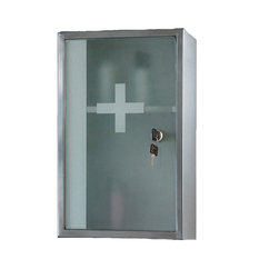 "Lockable Series Medicine Cabinet, 9.75""x15.75"", Frosted Safety Glass"