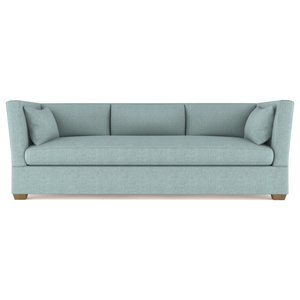 High Back Wing Chair In Teal Transitional Armchairs