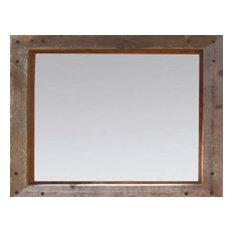 decor inc rustic mirrors barn wood with alder inset and nailhead corner tacks