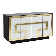 Black Sideboard With Four White Doors and Gold Detailing