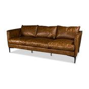 "85"" L Leather Sofa Vintage Buffalo Leather Contemporary Metal Frame"