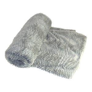 "Herringbone Jumbo Over-Size Faux Fur Throw Blanket, Silver, 60""x80"""