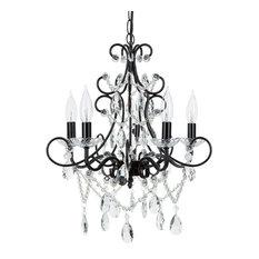 Amalfi Decor - Theresa 5-Light Wrought Iron Crystal Chandelier, Black - Chandeliers
