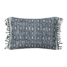 """Loloi Contemporary Cotton Accent Pillow, Blue and Gray, 13""""x21"""""""