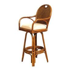 hospitality rattan classic indoor swivel rattan u0026 wicker counter stool w cushion antique beige