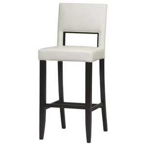 """Pemberly Row 30"""" Faux Leather Bar Stool in Off White and Espresso"""