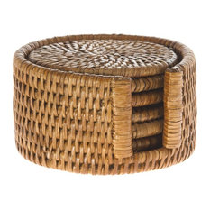 La Jolla Round Rattan Coasters with Holder, Set of 6, Honey-Brown
